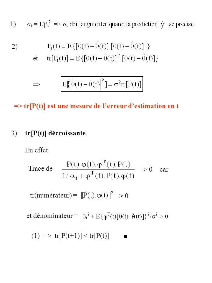 1) 2) => tr[P(t)] est une mesure de l'erreur d'estimation en t. 3) tr[P(t)] décroissante. En effet.